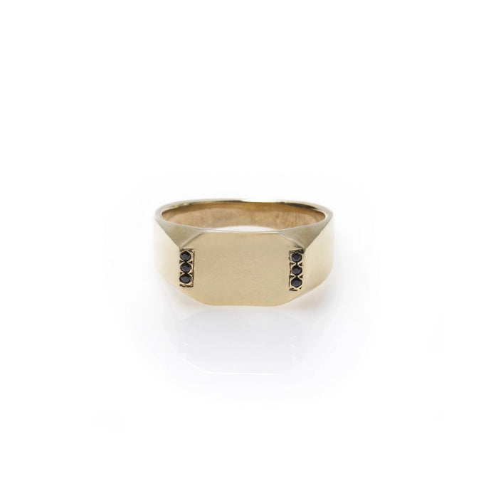 louise - 14k gold & black diamond ring