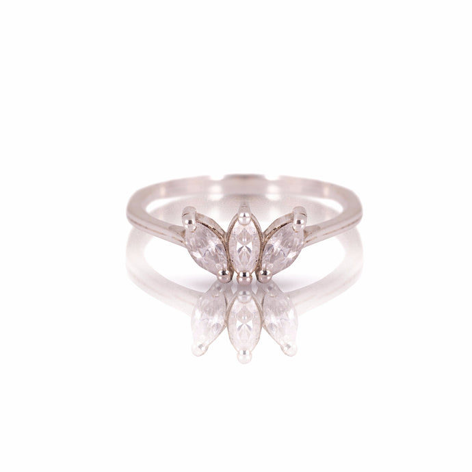 lotus - three leaves diamond ring