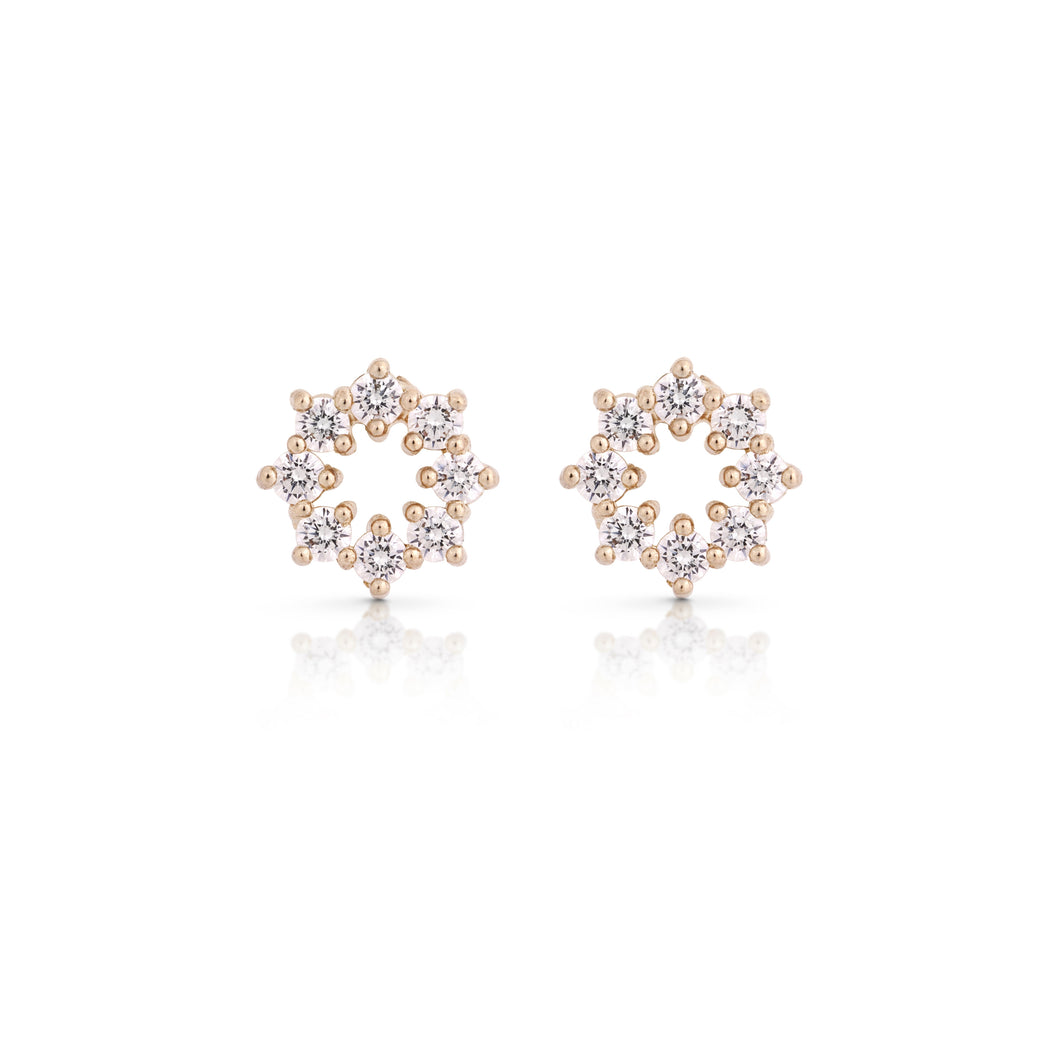 hadas - gold flower earring - 14k & diamonds