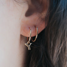 Load image into Gallery viewer, your initial asymmetric earrings -  14k & black diamonds