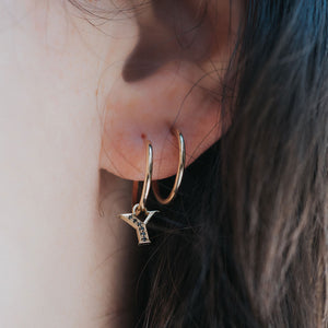 your initial asymmetric earrings -  14k & black diamonds