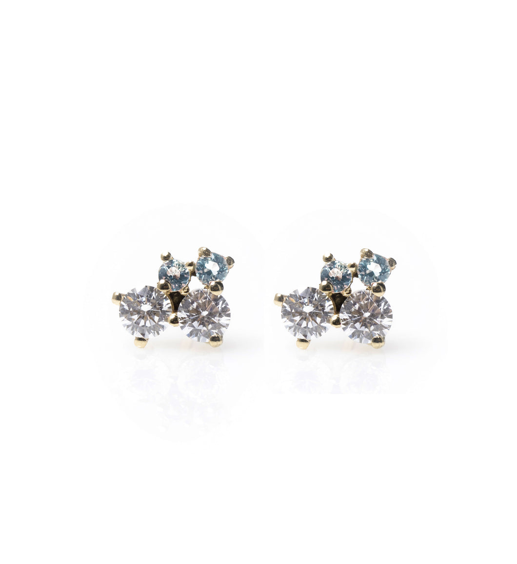 sue - 14k, diamond & aquamarine earrings