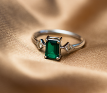 Load image into Gallery viewer, émile emerald & diamonds ring