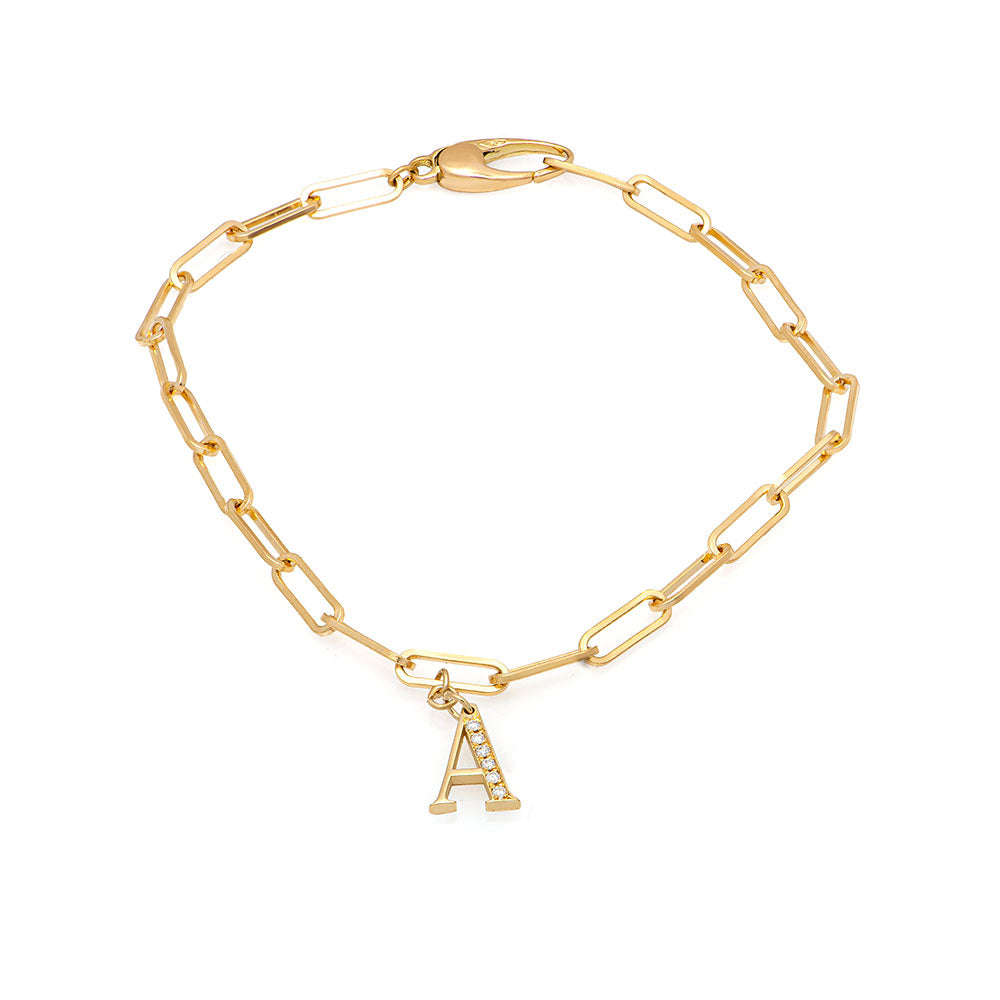 initial gold & diamonds bracelet