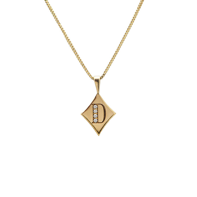 rhombus shape initial gold necklace