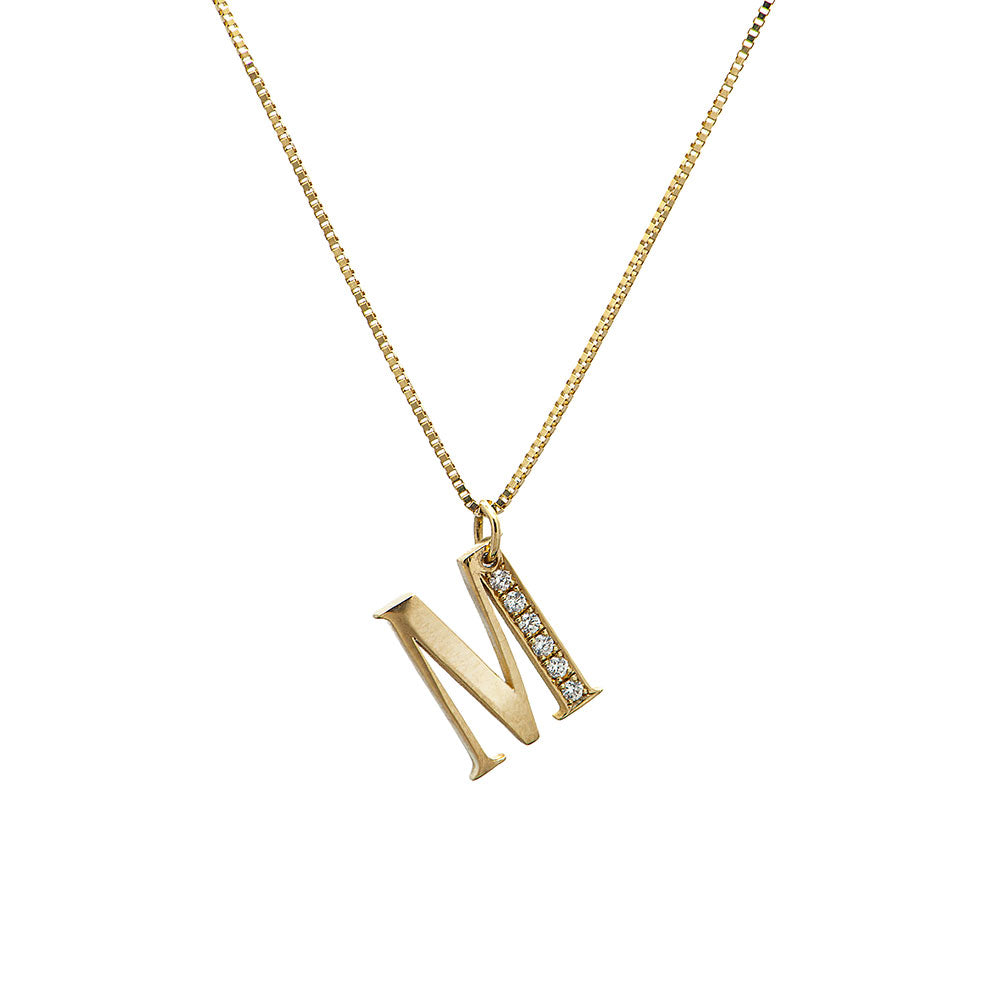 initial gold & diamonds necklace