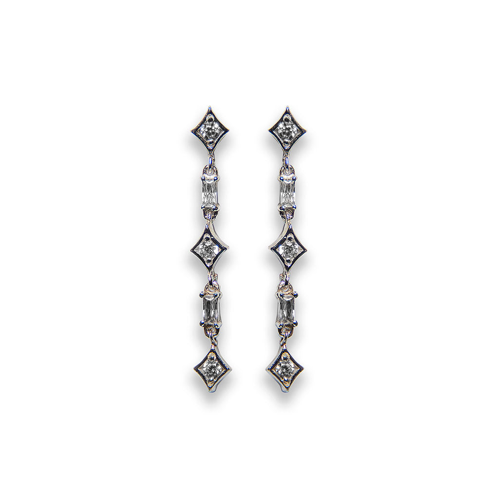 andré long cascade diamond earrings