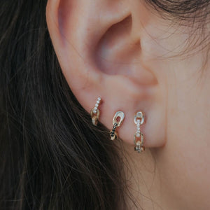 chain-link mini hoop earrings