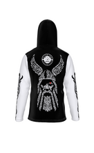 Load image into Gallery viewer, Viking God Odin's Eye Back Hooded Sweatshirt with Face Mask - See You In Valhalla Safety Mask - Hoodies for Men & Women - Norse Mythology Clothing