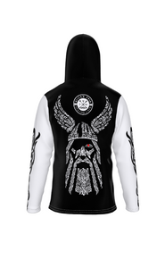 Viking God Odin's Eye Back Hooded Sweatshirt with Face Mask - See You In Valhalla Safety Mask - Hoodies for Men & Women - Norse Mythology Clothing