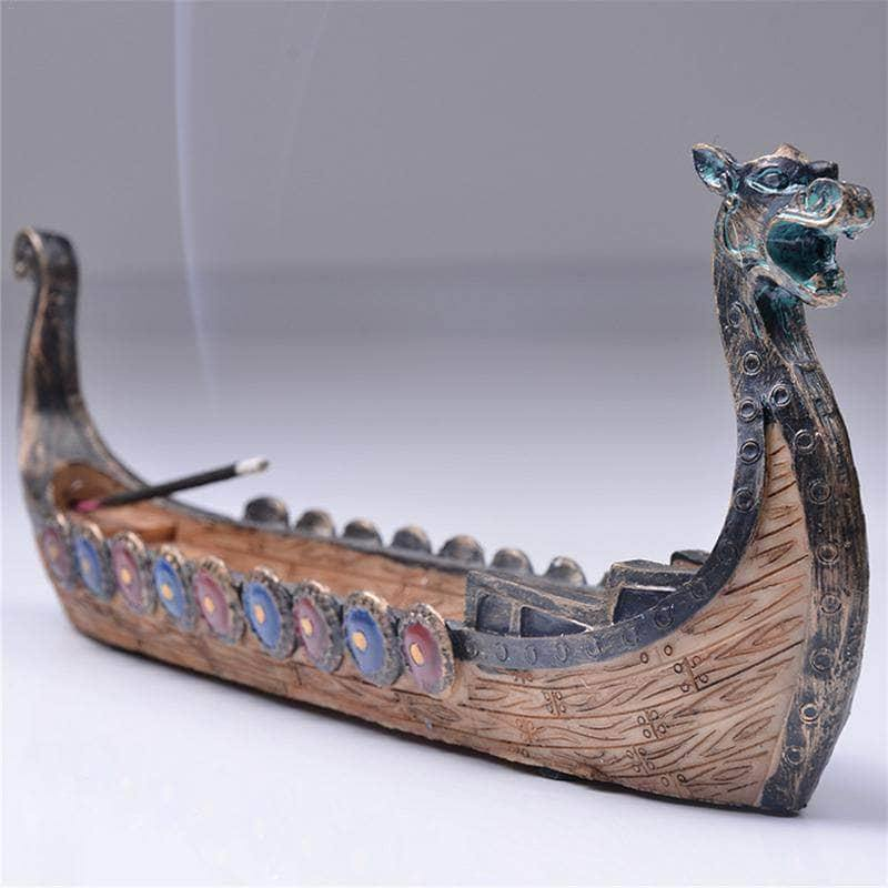 VIKING LAIR accesories Hand Carved Dragon Boat Incense Stick Burner Figurine