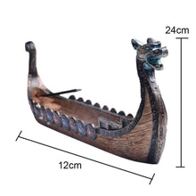 Load image into Gallery viewer, VIKING LAIR accesories Hand Carved Dragon Boat Incense Stick Burner Figurine