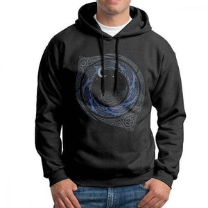 VIKING LAIR Black / S Moonlight Roundelay Vikings Valhalla Hooded Sweatshirt