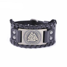 Load image into Gallery viewer, VIKING LAIR Bracelet Black Copper Plated Genuine Valknut Leather Bracelet