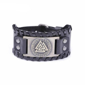 VIKING LAIR Bracelet Black Copper Plated Genuine Valknut Leather Bracelet