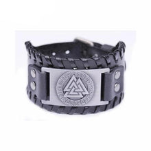 Load image into Gallery viewer, VIKING LAIR Bracelet Black Silver Plated Genuine Valknut Leather Bracelet