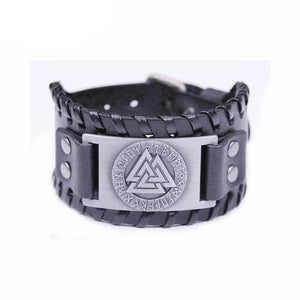 VIKING LAIR Bracelet Black Silver Plated Genuine Valknut Leather Bracelet
