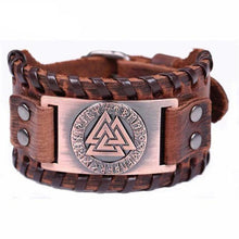 Load image into Gallery viewer, VIKING LAIR Bracelet Brown Bronze Plated Genuine Valknut Leather Bracelet