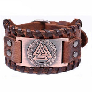 VIKING LAIR Bracelet Brown Bronze Plated Genuine Valknut Leather Bracelet