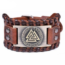 Load image into Gallery viewer, VIKING LAIR Bracelet Brown Copper Plated Genuine Valknut Leather Bracelet