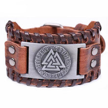Load image into Gallery viewer, VIKING LAIR Bracelet Brown Silver Plated Genuine Valknut Leather Bracelet