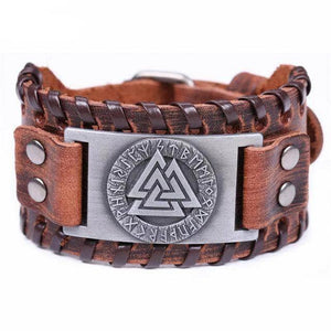 VIKING LAIR Bracelet Brown Silver Plated Genuine Valknut Leather Bracelet