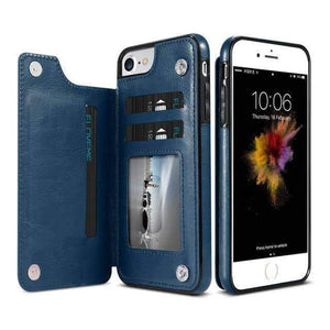 VIKING LAIR For iPhone 8 / Blue Viking Lair - Leather Phone Case w/ Backside Wallet for iPhone