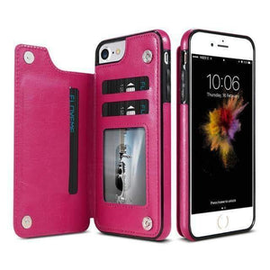 VIKING LAIR For iPhone 8 / Hot pink Viking Lair - Leather Phone Case w/ Backside Wallet for iPhone