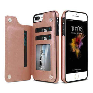 VIKING LAIR For iPhone X 10 / Rose glod Viking Lair - Leather Phone Case w/ Backside Wallet for iPhone