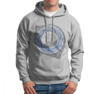 VIKING LAIR Gray / L Moonlight Roundelay Vikings Valhalla Hooded Sweatshirt