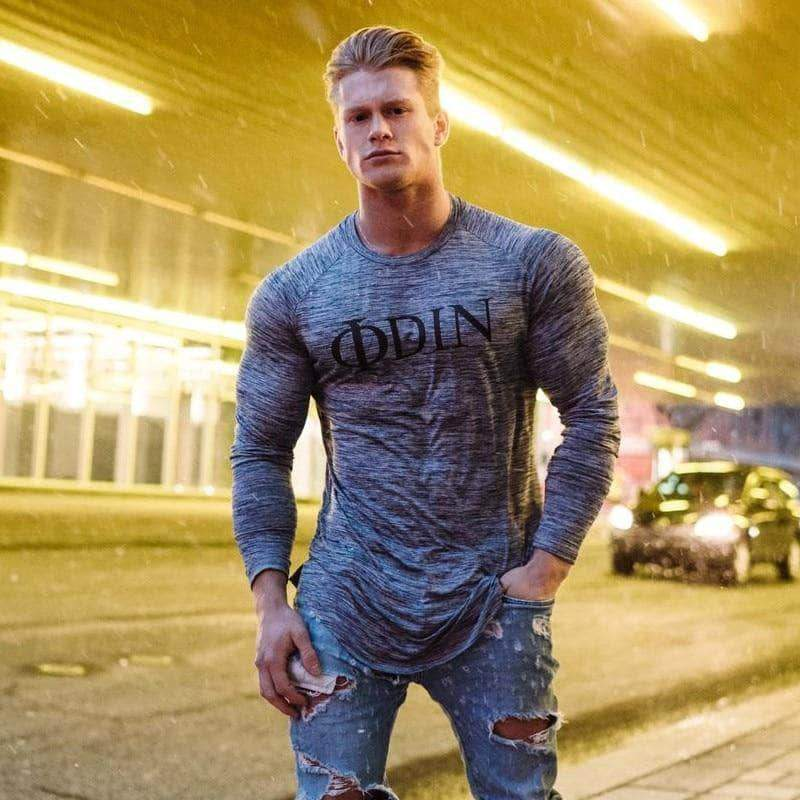 VIKING LAIR Gray / M Odin Casual Slim Fit Gym Tee (GREY)