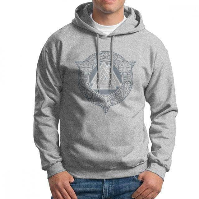 VIKING LAIR Gray / S(US)/XL Man Valknut Ice Flame Hoodies