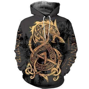 VIKING LAIR Hoodies / XS Unisex Viking Warrior Tattoo Sweatshirt Style 1