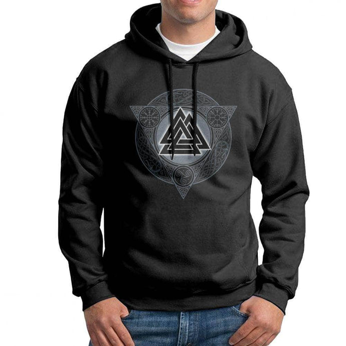 VIKING LAIR Man Valknut Ice Flame Hoodies