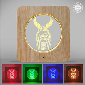 VIKING LAIR Odin's Eye 3D Night Light - Acrylic Table Lamp Wooden Frame Decor with 7 Colors Change Optical Illusion Touch & Remote Control - Bedside LED Nightlight for Kids, Boys & Girls