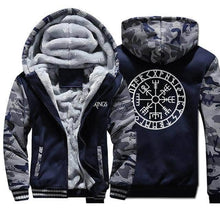 Load image into Gallery viewer, VIKING LAIR Sweatshirt Dark Blue 5 / M Viking Camo Vegvisir Sweatshirt + Hoodie