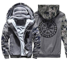 Load image into Gallery viewer, VIKING LAIR Sweatshirt Dark Gray 1 / XL Viking Camo Vegvisir Sweatshirt + Hoodie