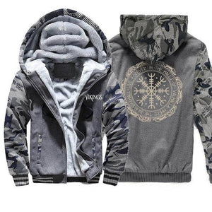 VIKING LAIR Sweatshirt Dark Gray 6 / XXL (US) Viking Thick Camo Winter Men Sweatshirt + Hoodie