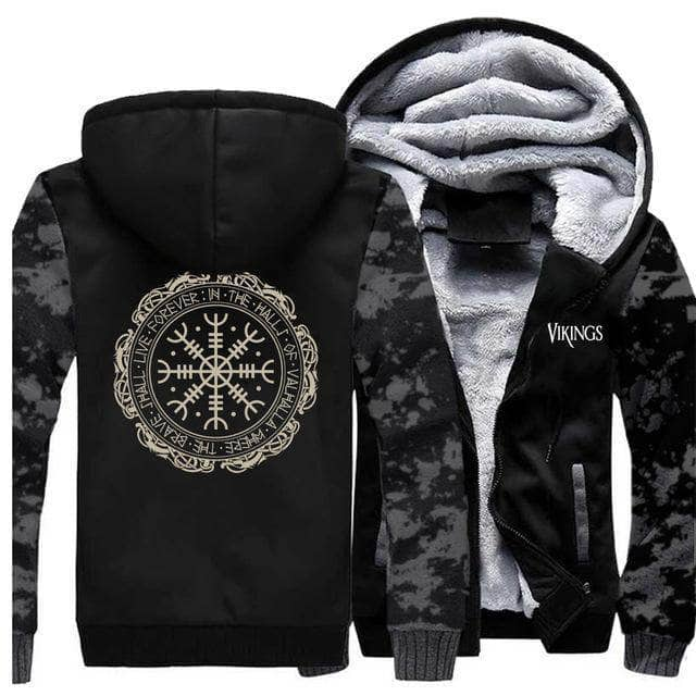 VIKING LAIR Sweatshirt Vintage Gray 6 / XL (US) Viking Thick Camo Winter Men Sweatshirt + Hoodie