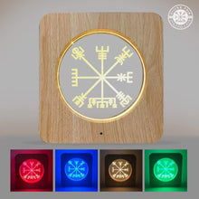 Load image into Gallery viewer, VIKING LAIR Vegvisir 3D Night Light - Acrylic Table Lamp Wooden Frame Decor with 7 Colors Change Optical Illusion Touch & Remote Control - Bedside LED Nightlight for Kids, Boys & Girls