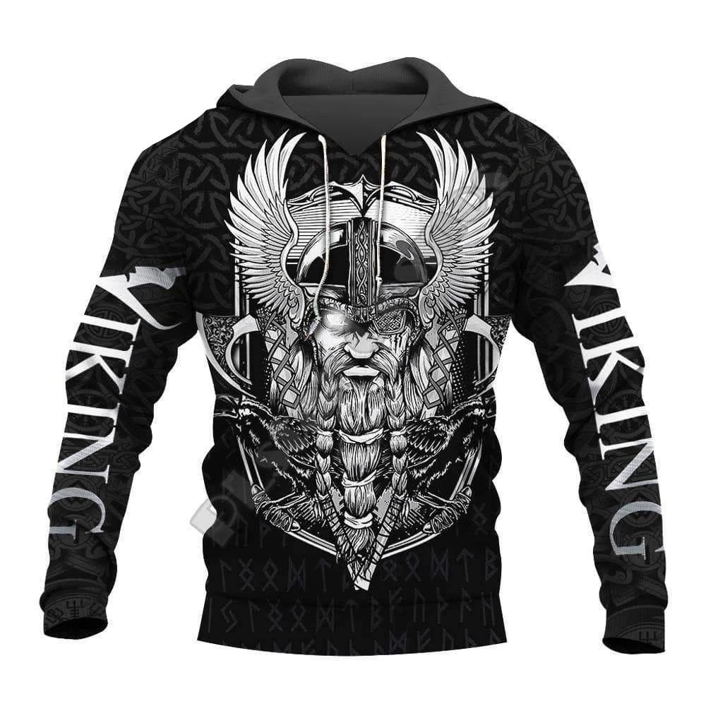 VIKING LAIR Viking Odin Warrior Tattoo 3D Printed Hoodie + Sweatshirt