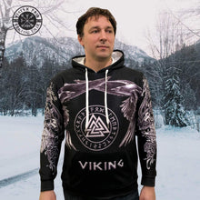 Load image into Gallery viewer, VIKING LAIR Viking Valknut Futhark Ravens & Wolves 3D Printed Hoodie + Sweatshirt