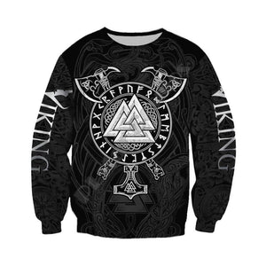 VIKING LAIR Viking Warrior Valknut Futhark Tattoo 3D Printed Hoodie + Sweatshirt