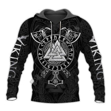 Load image into Gallery viewer, VIKING LAIR Viking Warrior Valknut Futhark Tattoo 3D Printed Hoodie + Sweatshirt