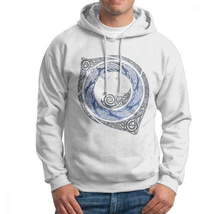 VIKING LAIR White / S Moonlight Roundelay Vikings Valhalla Hooded Sweatshirt