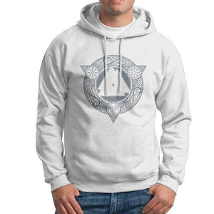 VIKING LAIR White / S(US)/XL Man Valknut Ice Flame Hoodies