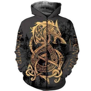 VIKING LAIR Zip hoodies / S Unisex Viking Warrior Tattoo Sweatshirt Style 1