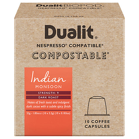 Dualit Compostable Indian Monsoon Coffee Capsules - Nespresso Compatible