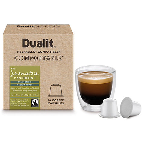 Dualit Compostable Sumatra Mandheling Coffee Capsules -Nespresso Compatible