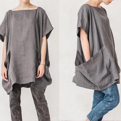Wing Sleeve Big Pockets Cotton Shirt